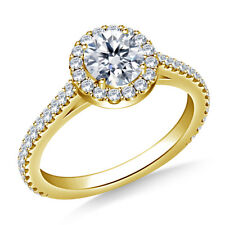 0.98 Carat Round Diamond Engagement Rings Real 14K Yellow Gold Size J K L M N