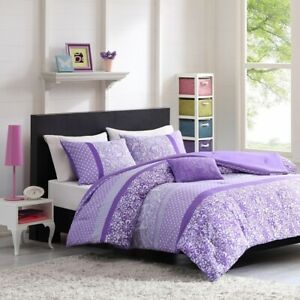 Luxury Purple & White Polka Dots Paisley Comforter Set  AND Decorative Pillow