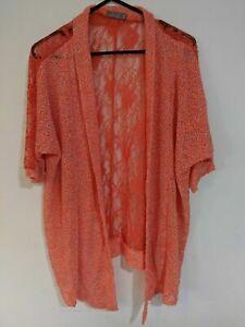 Filo Women's Shrug Size 16 Orange Lace Mottled Effect Short Sleeve