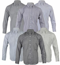 Mens Polycotton Check Plain Long Sleeve Shirt Soft Work Casual M - 2XL