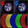 16 Strips Reflective Motorcycle Car Rim Stripe Wheel Decal Tape Sticker 7 Colors