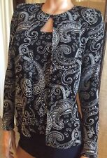 NWT*BLU SAGE~S~2 PC BLACK/SILVER LONG SLV GLITTER WEAR HOLIDAY/PARTY TUNIC/TOP