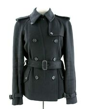 Authentic Burberry London Wool Trench Coat in Black UK Size 8 (S) RRP £800