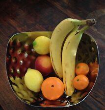 METALLIC CHROME SHINY SILVER-COLOR CENTERPIECE FRUIT BOWL w/GOLF BALL DIMPLES