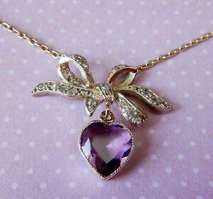 Antique Victorian Diamond and Amethyst Heart & Bow Necklace (VIDEO VIEW)