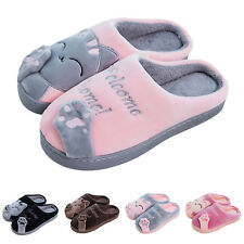 Women Winter Home Slippers Cartoon Cat Home Non-slip Soft Couple Floor Shoes BE