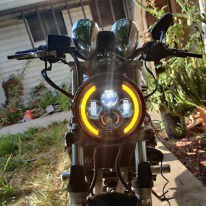 """7"""" LED Headlight with DRL Halo Ring Headlamp Turn Signal Light For Motorcycle US"""