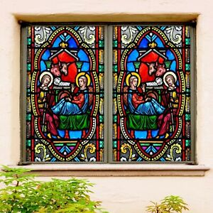3D Virgin Mary R198 Window Film Print Sticker Cling Stained Glass UV Su