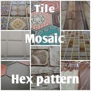 3D Wall Panels PVC Tiles Splashback Bathroom Caravan Cladding TILE MOSAIC HEX