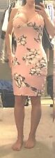 *New*Sexy Women's Strappy Bodycon Evening Dress*Floral Print*Pink*Medium*