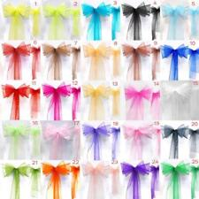 ORGANZA SASH CHAIR COVER BOWS FOR WEDDING PARTY - HUGE RANGE OF COLOURS!