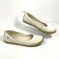 UGG Australia Women's 1003493 Indah Espadrille Size 9.5 M Cream Cotton Bow Flat