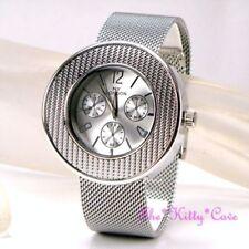 Relojes de pulsera unisex de acero inoxidable plateado cronógrafo