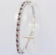 ♦ Armband in aus 925er Sterlingsilber mit Topas Rot Silber Silberarmband Armreif
