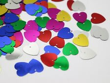 800 Mixed Color 16mm Flat Heart Loose sequins Paillettes Top Hole Sewing Wedding