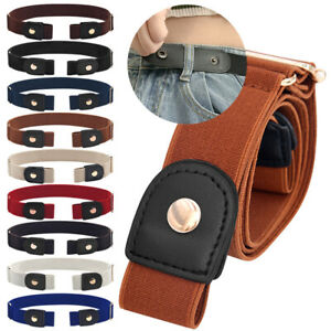 Elastic Invisible Comfortable Womens Mens No Bulge Hassle Belt Jeans Buckle free
