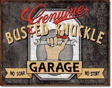 BUSTED KNUCKLE GARAGE/ GENUINE , ANTIQUE-FINISH VINTAGE STYLE METAL SIGN 40X30cm