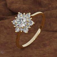 Damen Hochzeit Verlobung Strass Diamant Braut Ring Legierung Gold Chic flYfE