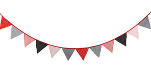 3M Lovely Floral Cotton Fabic Buntings 12 Flags Double Sided Party Banner (C)