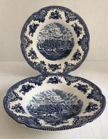 "Vintage Johnson Bros.1883 Earthware Blue&White Salad/Soup Plates 8 3/4""Set Of 2"