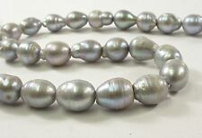 11-12 x 13-15mm SilverGray Baroque Teardrop Cultured FreshwaterPearl Beads(#539)