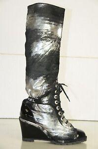 Neuf chanel Noir Verni Argent Poney Skins Cc Compensé Bottes 39.5 Chaussures