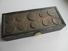 Vintage Wooden Box Decorated With Galvanic Copies of Russian Coins