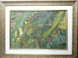 David Messer Listed Paris Artist Painting Oil/C Figures & Houses Signed 50x73 cm