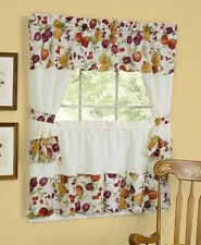 Chesapeake embroidered cottage set-  Kitchen Curtain  fruits apples plum beige