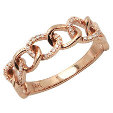 14K ROSE GOLD PAVE DIAMOND STACK STACKABLE CHAIN LINK WEDDING BAND RING