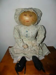 """Hand Painted 22"""" old Gourd Doll from Texas estate with handmade dress. nice."""