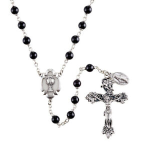 First Communion Rosary Heritage Collection Black 6mm Glass Beads