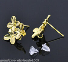 5Pairs Wholesale Lots Gold Plated Flower Earring Post W/Stopper 15mmx14mm GW