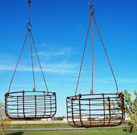 Small Wrought Iron Garden Hanging Basket Planter for Trailing Flowers & Vines