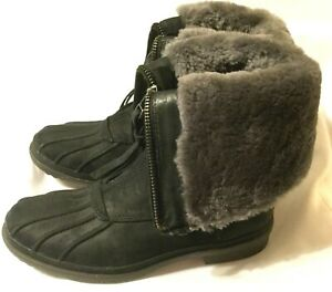 WOMEN'S SIZE 5.5 UGG AUSTRALIA ARQUETTE BOOTS Black Leather Waterproof Snow