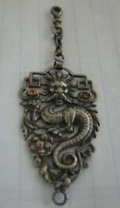 An Interesting Antique Silver Big Pendant With Dragon And Lion's Head