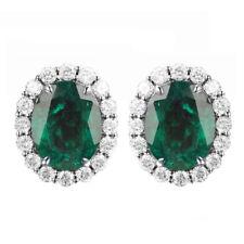 14KT White Gold Natural Green Emerald 2.60Ct EGL Certified Diamond Earrings