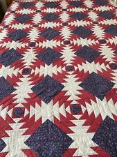 WOW Vintage Handmade Hand Quilted Pineapple Quilt Americana Red White Blue 80x93