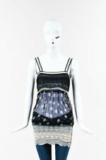 Jean Paul Gaultier Maille Femme Black Gray Knit Chiffon Printed Tank Top SZ M