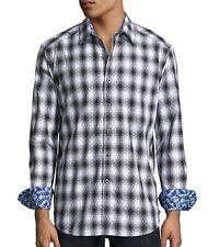Robert Graham Men's Long Sleeve Middle Village Plaid Shirt Classic Fit Black