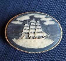 VINTAGE Incolay STONE MASTED SAILING CLIPPER SHIP  Belt Buckle Blue