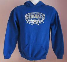 VTG Mens JERZEES GENERALS Blue USA Hooded Sweatshirt Size Small
