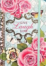 pUNCH STUDIO Hardcover Bungee Closure Journal - Live Laugh Love Roses 95081