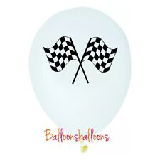"""5 x Chequered Flag Balloons 11"""" Racing Cars Bikes Finish Line Party"""