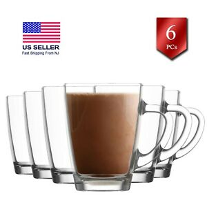 Glass Tea Cups Set with Handle, Clear Coffee Mugs Set of 6, 10.25 oz (300 Cc)