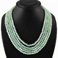 400.00 CTS NATURAL RICH GREEN AQUAMARINE 5 LINE ROUND SHAPED BEADS NECKLACE (RS)