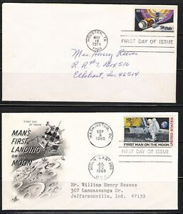 USA 1969 Scott's#C76 Moon Landing 1st Day & #1529 Sky Lab 1st Day (9 Covers)