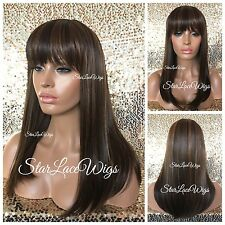 Medium Length Straight Full Wig With Bangs Brown Medium Auburn Mix Heat Safe Ok