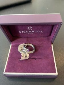 CHARRIOL STAINLESS STEEL CABLE RING WITH PURPLE AMETHYST COLOR GEM SZ6 NWT BOX