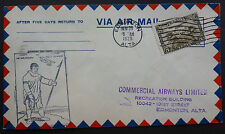 CANADA 1929 AIR MAIL FORT McMURRAY/ARCTIC RED RIVER  (NWT) - EDMONTON ALTA. NOV.
